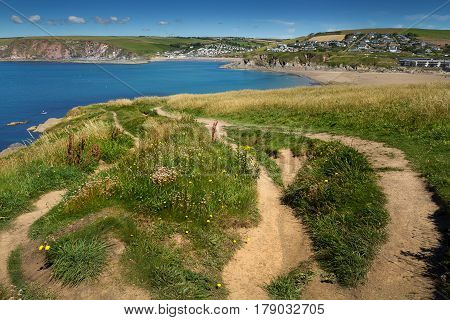 View of bigbury on sea from Burgh Island. Devon. England