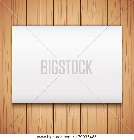 Wooden plank texture with Empty mockup billboard. Design Illustration