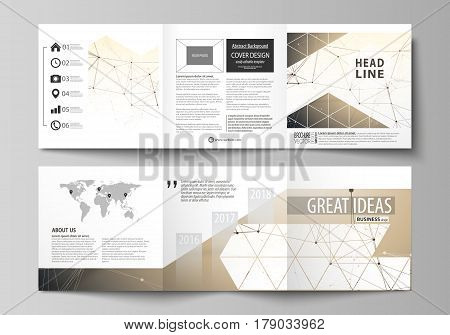 Set of business templates for tri fold square design brochures. Leaflet cover, abstract flat layout, easy editable vector. Technology, science, medical concept. Golden dots and lines, cybernetic digital style. Lines plexus.