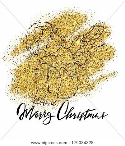 Cute isolated vector concept card with hand drawn little angel. Beautiful Merry Christmas background with glitter effect and lettering