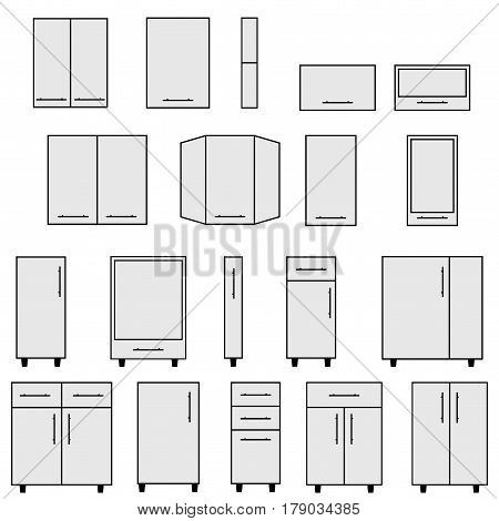 Sample of typical objects for modular kitchens. Flat style elements for design interior configuration.  Illustration isolated on white background