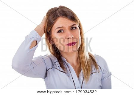 Portrait of a frustrated young business woman having some serious issues