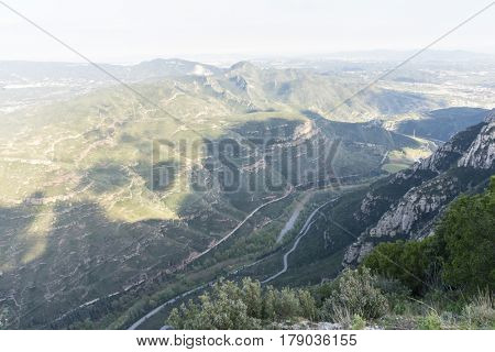 Tourism Aerial view from montserrat monastery in catalonia, spain