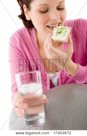 Fitness Woman Relax Glass Water Snack Sportive