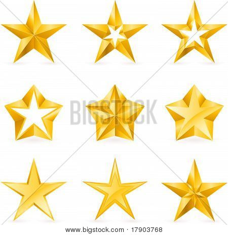 Different types and forms of gold stars