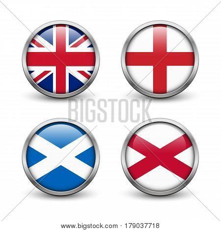 United Kingdom flag -England Scotland Ireland. Union Jack. Buttons with metal frame and shadow