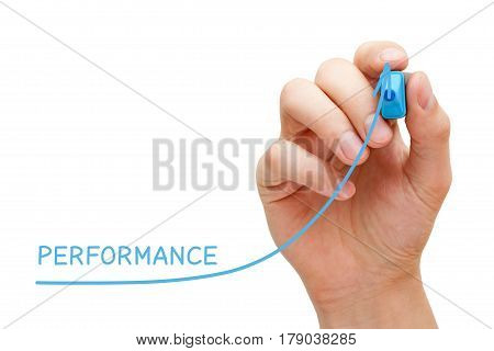 Hand drawing increased performance graph with blue marker on transparent wipe board.