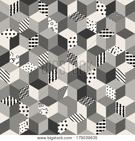 Memphis seamless pattern 80s-90s-vector illustration. Colorful geometric seamless pattern of cubes with different geometrical patterns. A monochrome ornament of cubes.