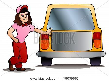 illustration of a woman with car on isolated white background