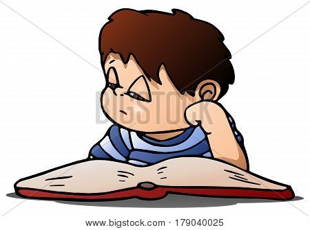 illustration of a boy lazy to study reading a book on isolated white background