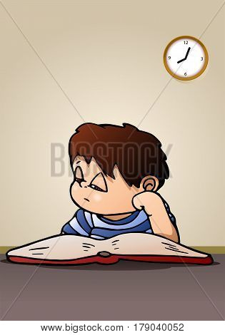 illustration of a boy lazy to study reading a book on room background