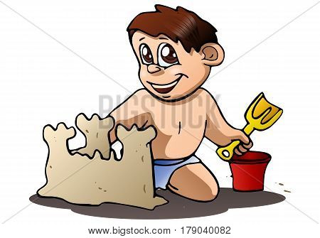 illustration of a boy play build sand castle on isolated white background