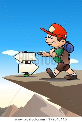 illustration of a boy hiking alone on nature background