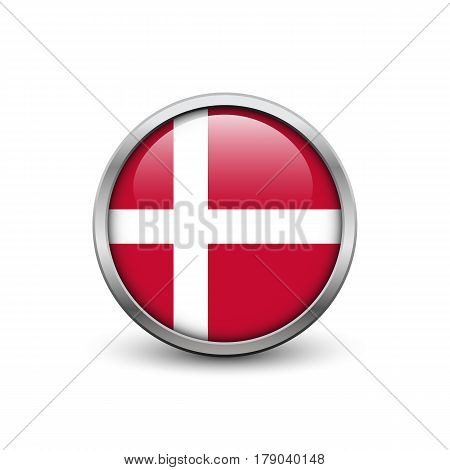 Flag of Danmark button with metal frame and shadow