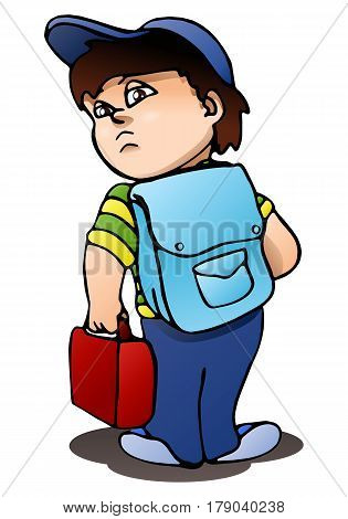illustration of a boy ready to go on isolated white background