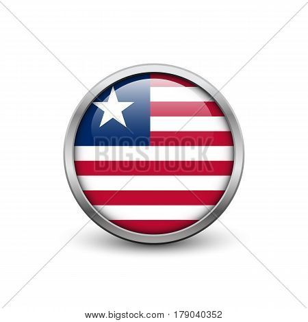 Flag of Liberia button with metal frame and shadow