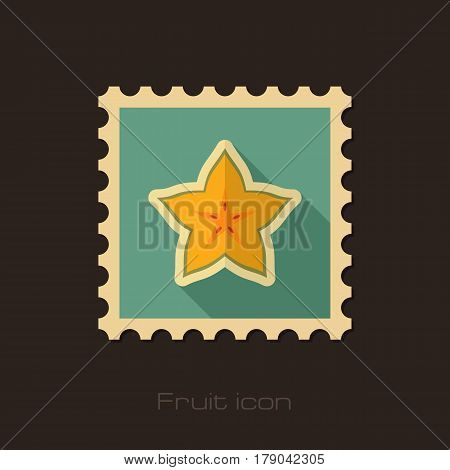 Starfruit Carambola Carom flat stamp. Tropical fruit vector illustration eps 10