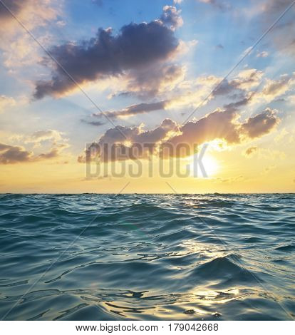 Waves on sunset. Nature composition. Element of design.