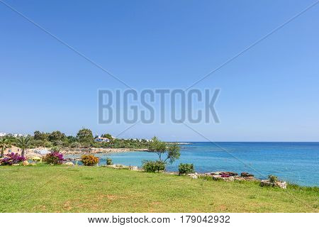 Sea view with immaculate water and blue sky, protaras, cyprus island