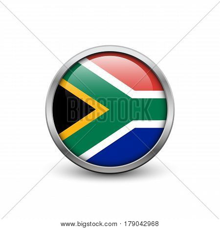 Flag of South Africa button with metal frame and shadow
