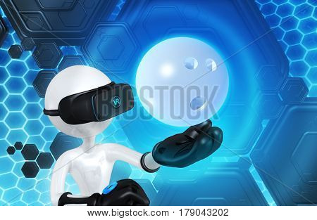 VR Bowling The Original 3D Character Illustration Wearing Virtual Reality Goggles