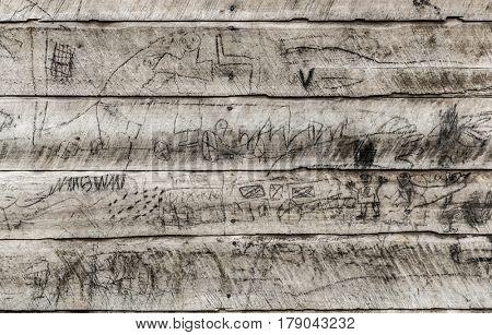 Handmade story on woodboard in Nord Kivu