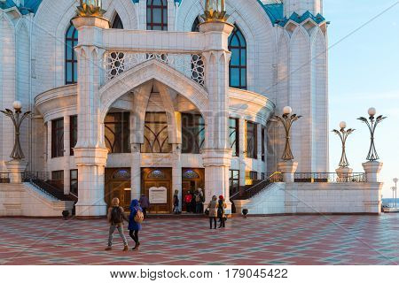 Kazan, Russia - March 26.2017. entrance to the mosque Kul-Sharif at sunset. Tatarstan