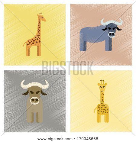 assembly flat shading style icons of giraffe bull