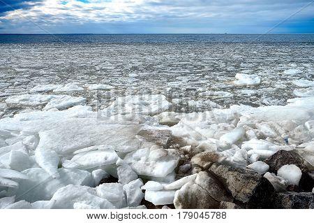 huge ice floes closeup on the sea