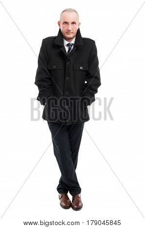 Full Body Of Middle Age Business Man Posing Wearing Overcoat