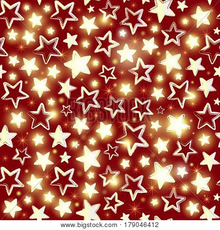 Seamless pattern with shining stars on red background. Beautiful greeting background. Wrapping paper. Vector illustration