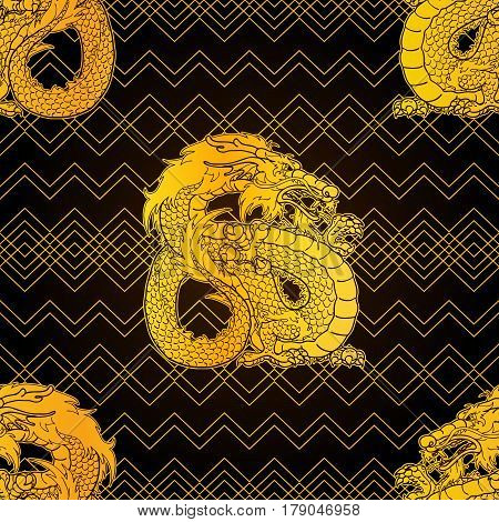 Strong Earth Asian chinese dragon and rhombuses. Gold contour on dark brown black background. Seamless pattern. Vector illustration.