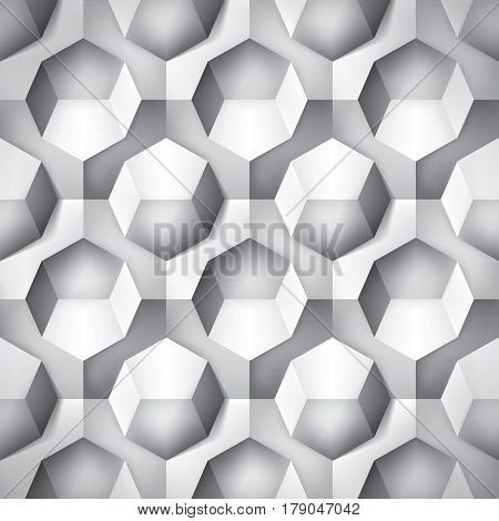 Volume realistic texture, octahedron, gray 3d geometric pattern, design vector background