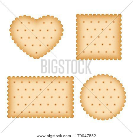 Cartoon biscuit, eating pastry, breakfast cookies vector. Set of pastry biscuit, illustration of round and heart form biscuit