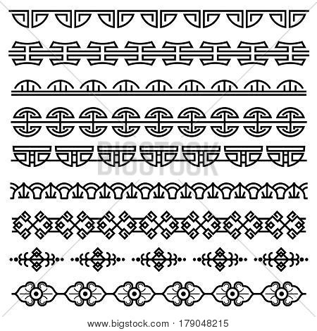 Chinese decoration, traditional antique korean pattern, vector asian seamless borders set. Korean border pattern, illustration of traditional oriental japanese pattern