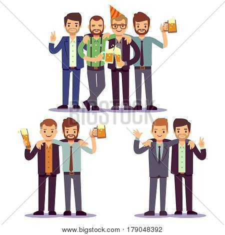 Happy friends, business people at party vector friendly concept. Happiness colleague after work, illustration of business party with colleague