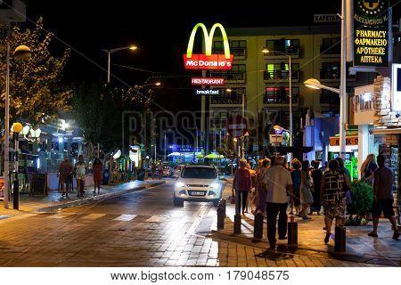 CYPRUS, PROTARAS - 13 SEPEMBER 2015: Night view on McDonalds on street in Protaras, Cyprus