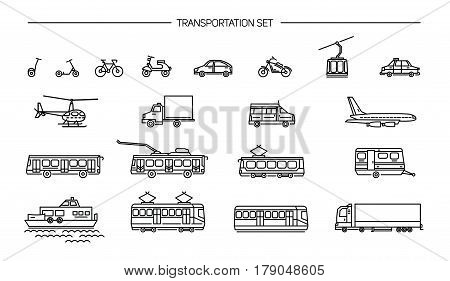 Lineart icon set with ground transport, aviation and water transportation on white background, Collection with bike, bus, trolley, subway, train, car, airplane, scooter, funicular, tram plane boat