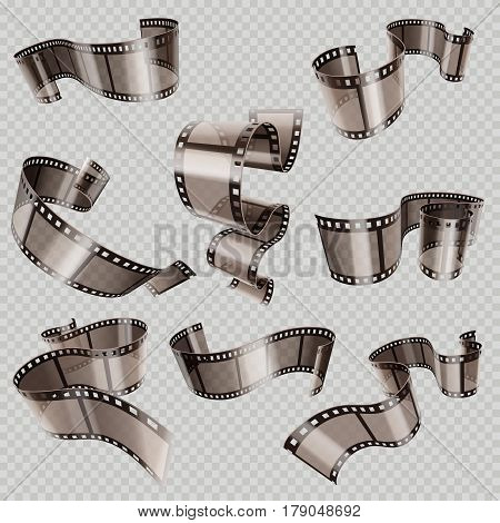Retro 35mm foto and movie film roll vector set. Video tape part, illustration of cinematography multimedia tape photography