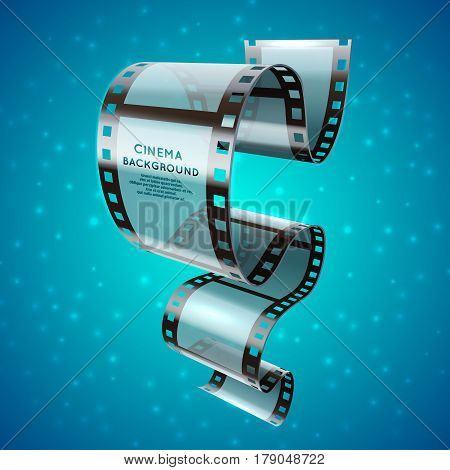 Abstract cinema retro poster with film strip roll, vector movie festival background. Banner cinema festival with sparkle shine, festival event film movie illustration