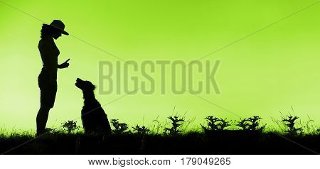 Website banner of dog training silhouette in green