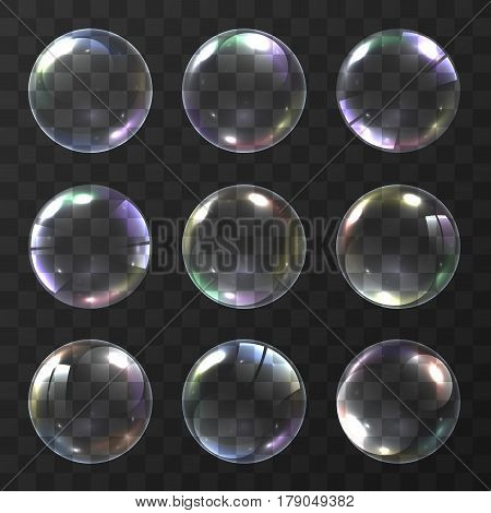 Realistic soap bubble with rainbow colors on black background. vector soap bubble illustration. Soap Bubble set. Object on a white background, Vector