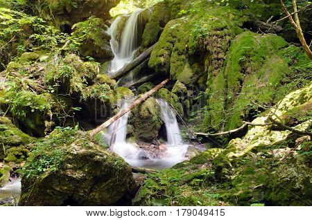 Typical cascade waterfall made from tufa with bryophytes (non-vascular land plants).