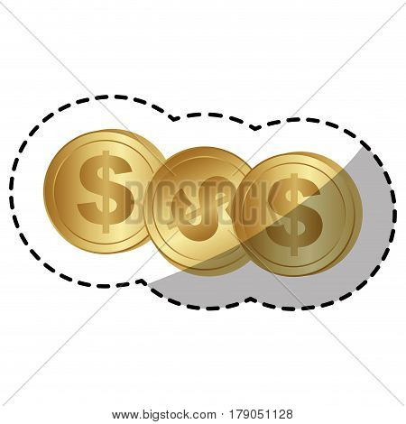 gold coins dolar currency, vector illustration design