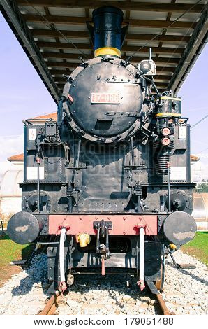 Front side of the old steam locomotive.