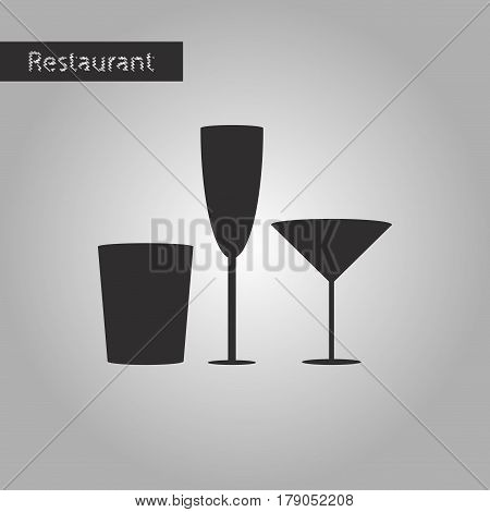 black and white style icon Glasses for wine and martini