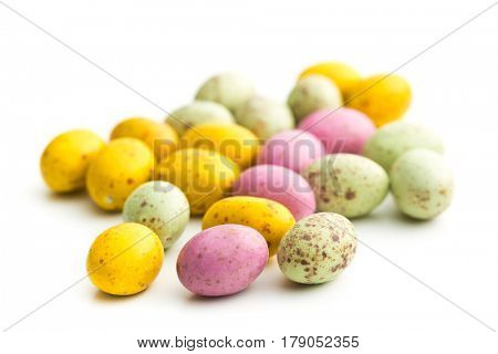 Sweet easter eggs isolated on white background.