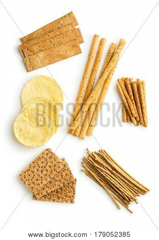 Crispbread and pretzel sticks isolated on white background.