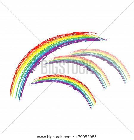 Rainbow on sky sign. Illustration colorful spectrum arc. Cute colorful symbol spring summer rain.Color bow mark clean nature. Template for t shirt card poster. Design element. Vector illustration