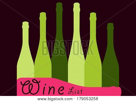 Background Bottle Ilustration.Alcoholic Bar Menu.Design for Party.Template for Cocktail Card.Wine List Placard.Suitable for Poster.Wine Vector.